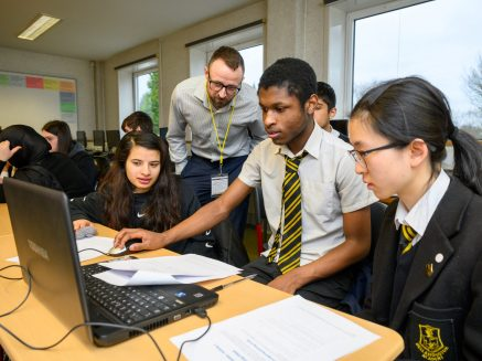 Pupils at Bellahouston Academy in Glasgow taking part in a Skills Development Scotland Cyber security skill project.